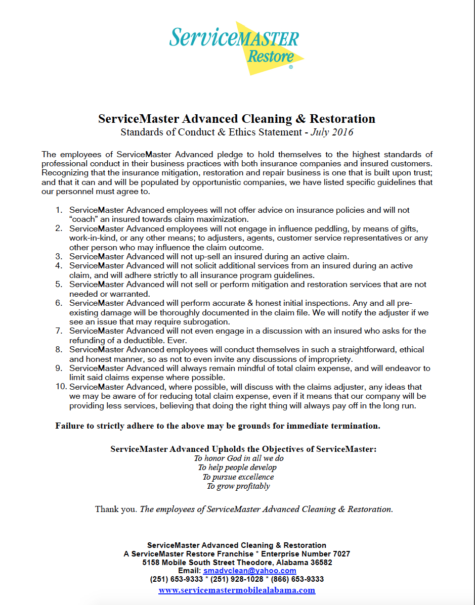 Ethics & Standards in Mold Remediation & Cleanup - ServiceMaster