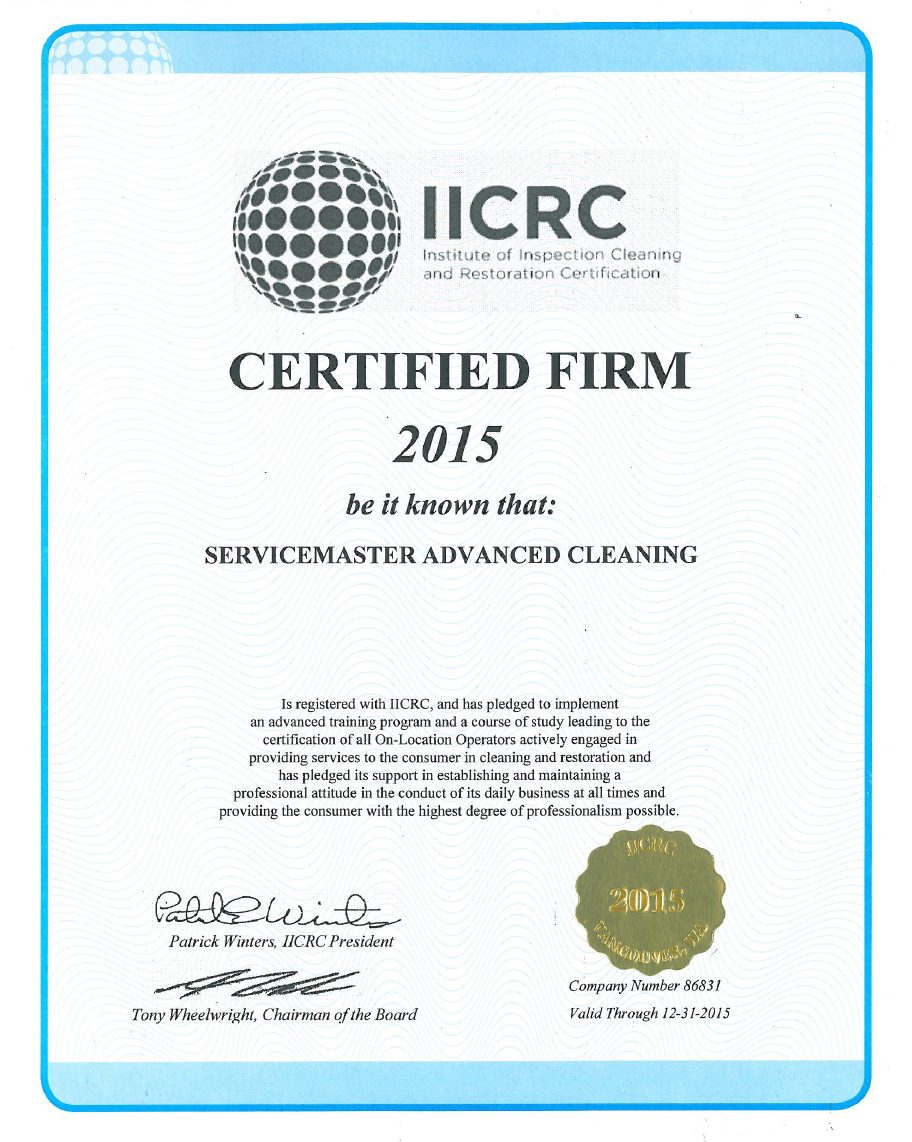 Iicrc Certified For Water Damage Restoration And Fire Damage